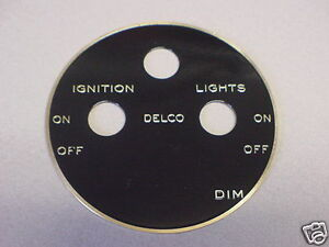 DELCO Ignition & Lighting Switch Plate Etched Brass 1920s - 1930s