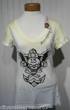 NWT Ed Hardy Skull Wings 13 Womens Scoop Neck T-Shirt M Yellow MSRP$89