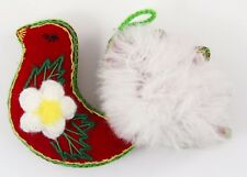Fabric Red White Bird Flower Christmas Ornament Holiday Decoration