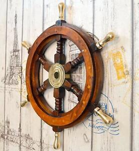 24 Inch Ship Wheel Ships Steering Wheel Nautical Wheel Wood With Brass Handle