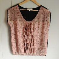 Ann Taylor LOFT Pink Polka Dot Ruffled Sleeveless Blouse Small