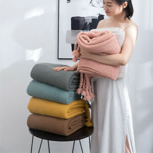 Knitted Blanket Tassel Throw Sofa Bedroom Nap Casual Air Condition Warm Blankets
