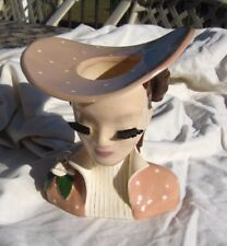 BETTY LOU NICHOLS HEAD VASE NELLIE IN PINK WITH WHITE DOTS SIGNED ON BOTTOM