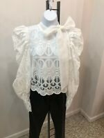 May By Shining Star White Lace Exaggerated Sleeve Top M/L  Bnwt