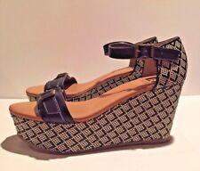 BC Womens Black Natural Cross Stitch Pattern Platform Wedge Sandal Shoes 8.5 NEW