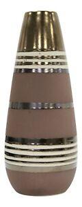 33cm Tall Ceramic Striped Brown/Copper Cylinder Flower Vase Modern Home Decor