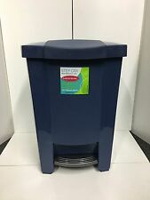 MISTRAL BLUE PLASTIC KITCHEN STEP ON GARBAGE CAN TRASH BIN PAIL WITH LINER