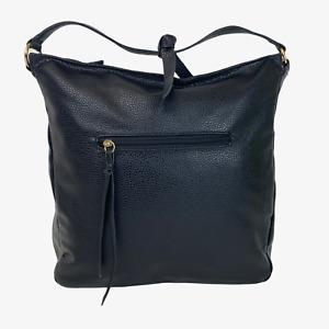 QUALITY Ladies Womens Bag Black Hobo Pebbled Shoulder Grab Handbag