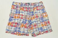 "Polo Ralph Lauren 38 x 8"" Madras Plaid USA Made Pleated Shorts"