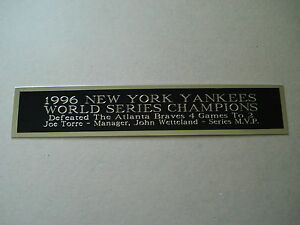 Yankees Nameplate for a 1996 World Series Baseball Jersey Display Case 1.5X8
