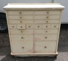 Early Antique Vtg 18 Drawer Dental Medical Cabinet Wood & Metal w/ Marble Top