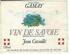 Etiquette Vin de SAVOIE AOC cru GAMAY Jean Cavaillé Aix les Bains