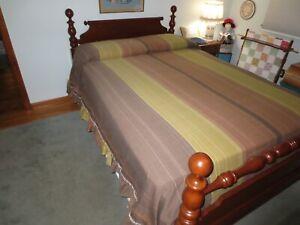 "Vintage OLIVE, RUST, BROWN STRIPE Summer Cotton RUFFLED  BEDSPREAD - 92"" x 108"""