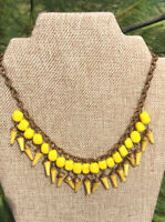 Early Miriam Haskell Yellow Glass Beaded Bib Necklace Celluloid Vintage Jewelry