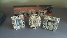 Set of 3 Mini Silverplated Picture Frames by Godinger Silver Art Style# 1393