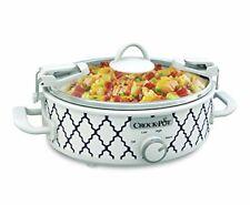 Crock Pot Oval Casserole Mini Slow Cooker Oven Safe White Blue Pattern 2.5 Quart