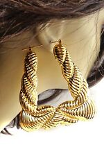 BAMBOO HOOP EARRINGS SILVER AND GOLD TONE HOOPS SQUARE DOORKNOCKERS 3 INCH