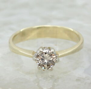 18CT YELLOW GOLD CHAMPAGNE DIAMOND SOLITAIRE RING, SIZE N 1/2, 0.5CT, ENGAGEMENT