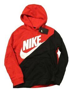Nike Sportswear Big Boys Red/Black Colorblock Fleece Lined Pullover Hoodie