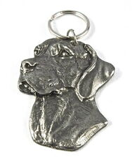 German Short Haired Pointer Fine Pewter keychain ring,Vintage,stamped on back