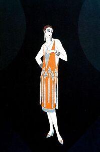 Erte Matted Print 1982 MANHATTAN MARY Orange Tassel Dress Art Deco Illustration