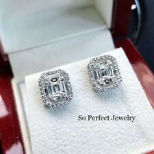 WOW 1.24TCW F/VS Diamond 18k Solid White Gold Earrings Emerald Illusion Natural