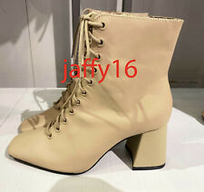 ZARA NEW WOMAN LACE-UP LEATHER HIGH HEEL ANKLE BOOTS CAMEL BROWN 35-42 3104/610