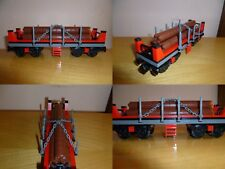 LEGO TRAIN TRENO EISENBAHN ZUG CITY VAGONE WOOD TRANSPORT TRASPORTO LEGNO DB MOC
