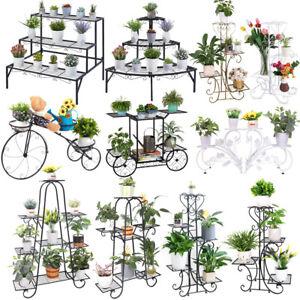 4-9 Pots Wrought Iron Rustproof Plant Stand Shelf Elegant Art Flower Holder Rack