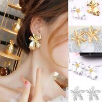 Big Flower Dangle Ear Statement Women Party Jewelry Gift Stud Fashion Earrings