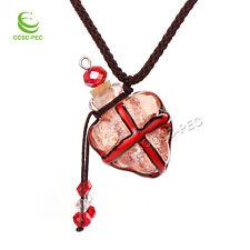 Murano Glass Red Cross oil ashes urn bottle cork pendant vial Necklace New