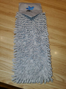 NORWEX CHENILLE HAND TOWEL GRAPHITE W/ TEAL FLOWER EMBROIDERY BACLOCK LE NEW