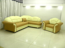 SOFA BED CORNER AND SINGLE CHAIR SUITE ''ROMERO'',SOFT ECO LEATHER, BEIGE/CREAM