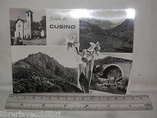 Vecchia cartolina foto d epoca di Cusino panorama cascata ponte chiesa campanile