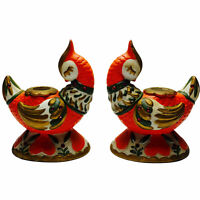 Lefton Exclusive Partridge Candleholders Orange Jeweled Japan 1950's Vtg