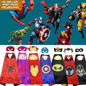 Kids Costume Cape and Mask Set All Superhero Spiderman and more Dress Up Party