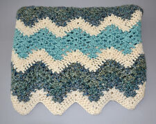 "Handmade Crochet Baby Boy Crib Soft Blanket Cream Blue Teal 47""x34"""