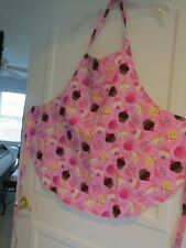 Handmade Cupcake Full Apron with Pink background.