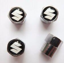 Tire Valve Stem Caps Cover Wheel Aluminum Set of 4 For Suzuki Black