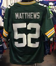 Men's Green Bay Packers Clay Matthews Jersey NFL Football Large Home Green