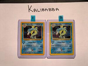 LOT OF TWO  Pokemon Gyarados 6/102 Base Set Rare Holo Cards (COLOUR VARIANTS)