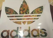 """ADIDAS PATCH  Logo PATCH HOT IRON ON TRANSFER  Patch 9"""" x 8"""" Colorful Fish"""