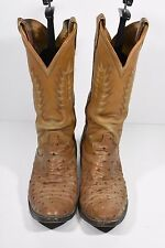 MENS 9 BROWN OSTRICH PRINT LEATHER WESTERN ROPERS COWBOY BOOTS