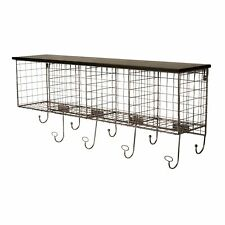 Grid Metal and Wood Wall Shelf with 4 Cubbies 9 hooks, Black