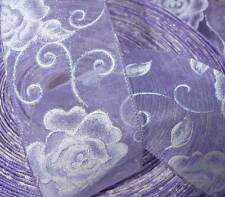 5 Yds Lavender Pastel Purple Wedding White Iridescent Roses Sheer Wired Ribbon 2