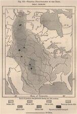 Graduale scomparsa delle BISON. USA 1885 Old ANTICA MAPPA plan grafico