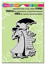 STAMPENDOUS RUBBER STAMPS CLING RAIN DANCE NEW cling STAMP