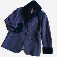 Gigli Velvet Coat Black Purple ITALY Made Wool Jacket Vintage Designer Size 44