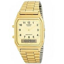 Casio AQ-230GA-9B Gold Retro Classic Dual Time Analog Digital Unisex Watch