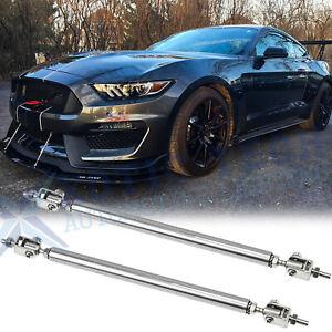 Adjustable Front Bumper Lip Splitter Rod Strut Tie Bars Support for Ford Mustang